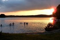 Lychen Wurlsee Badestrand Sonnenuntergang