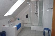 Ferienhaus Elbe Wootz Dusche Badewanne